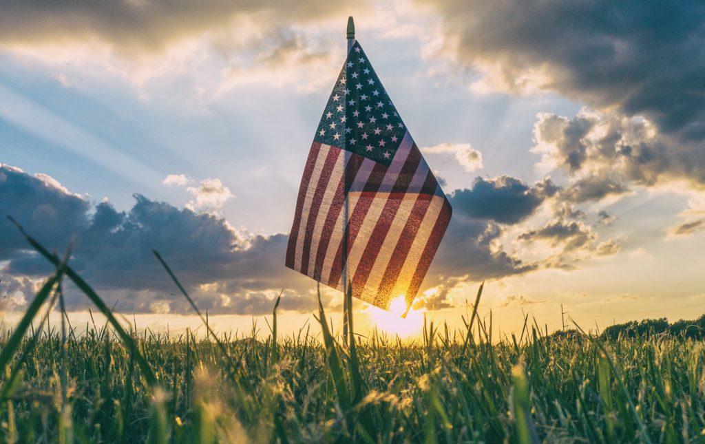 flag in sunset